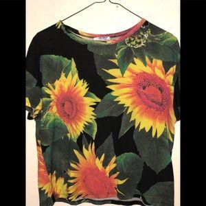 ZARA Sunflower 🌻 tee shirt top Small 2 3 4 flower